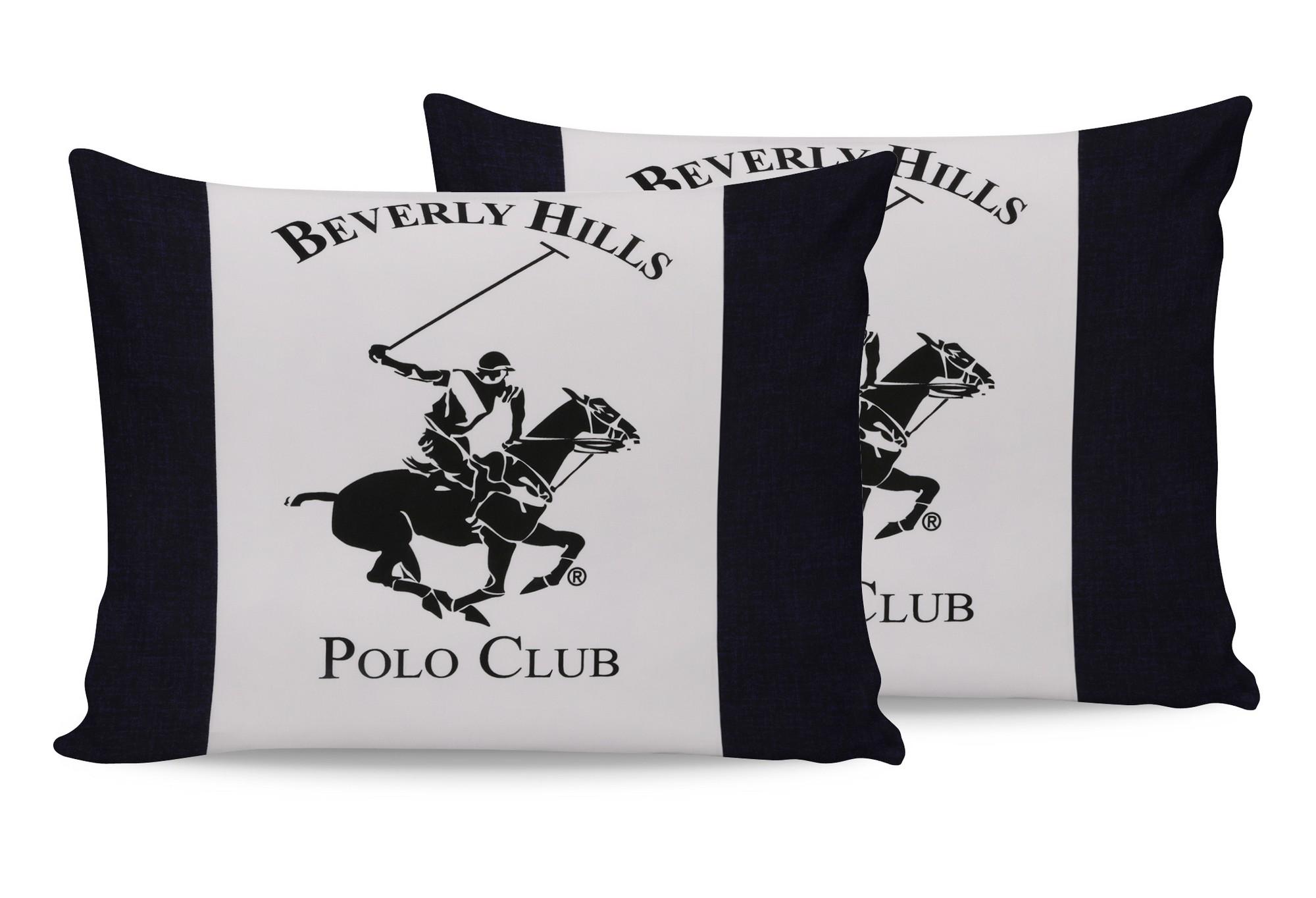 Set 2 fete perna din bumbac, Beverly Hills Polo Club BHPC 027 Crem / Alb, 50 x 70 cm