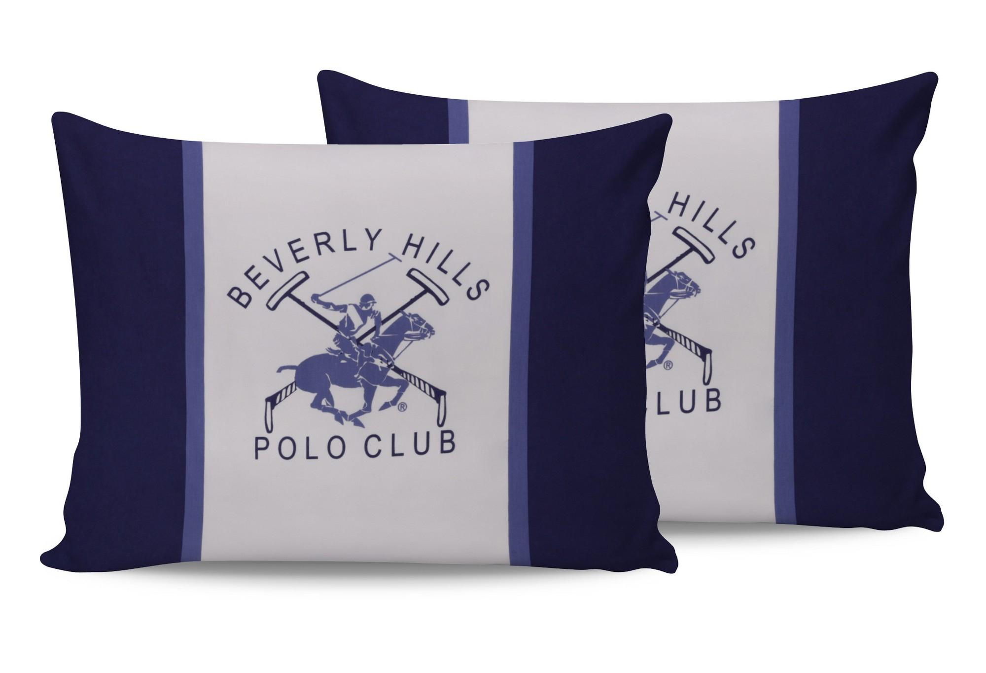 Set 2 fete perna din bumbac, Beverly Hills Polo Club BHPC 029 Bleumarin / Alb, 50 x 70 cm imagine