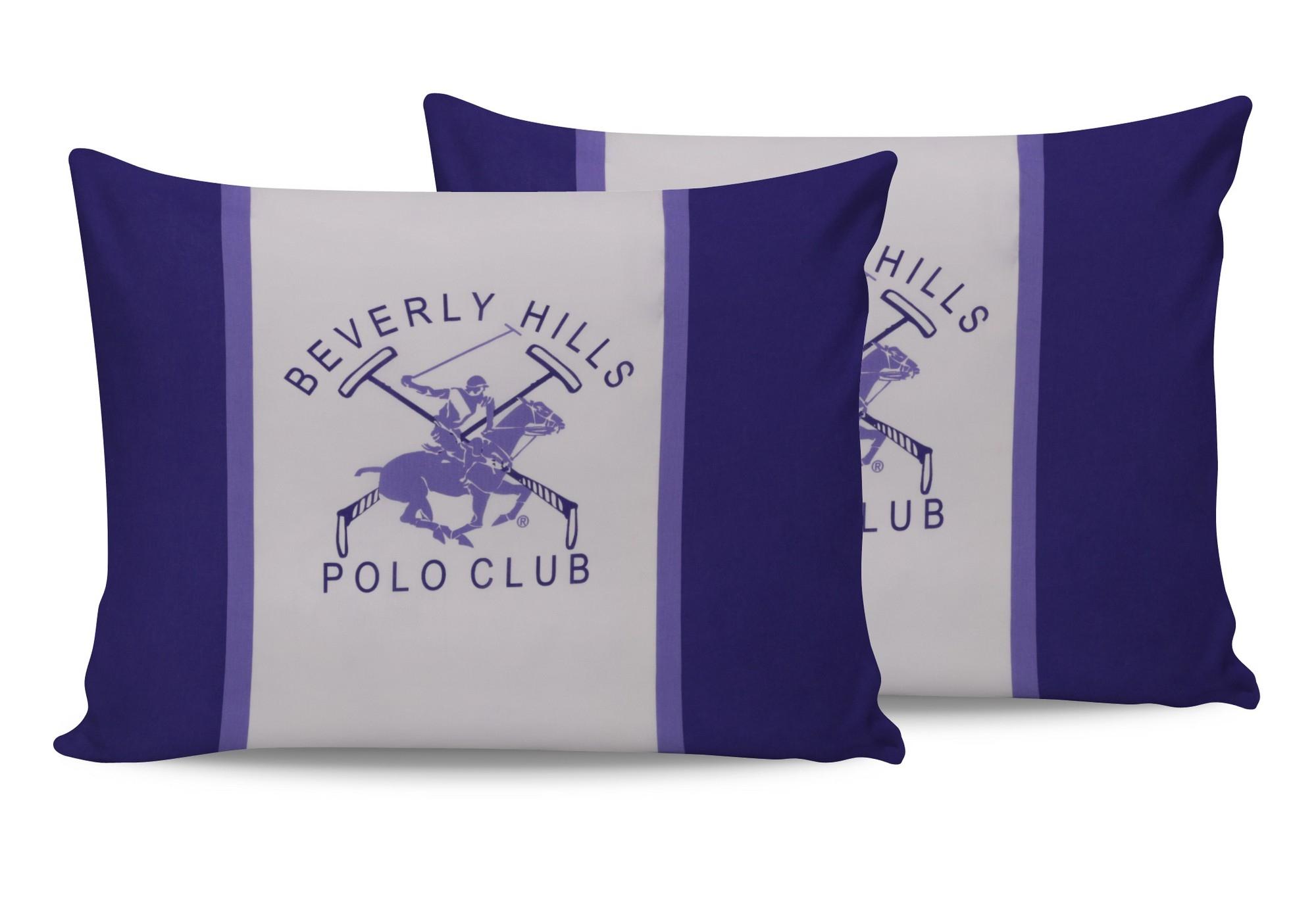 Set 2 fete perna din bumbac, Beverly Hills Polo Club BHPC 029 Lila / Alb, 50 x 70 cm