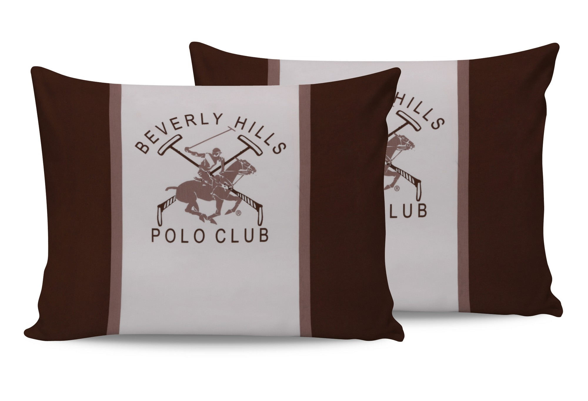 Set 2 fete perna din bumbac, Beverly Hills Polo Club BHPC 029 Maro / Alb, 50 x 70 cm