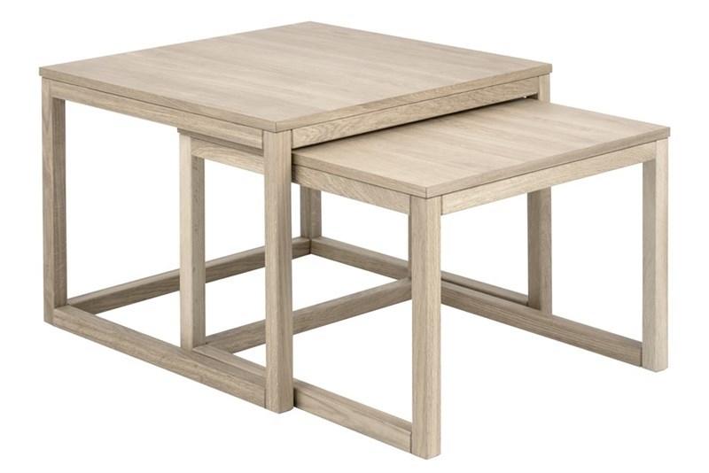 Set 2 mese de cafea, din lemn si furnir Cornus Ivory, L70xl70xH50 cm