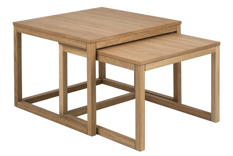 Set 2 mese de cafea din lemn si furnir Cornus Oak L70xl70xH50 cm