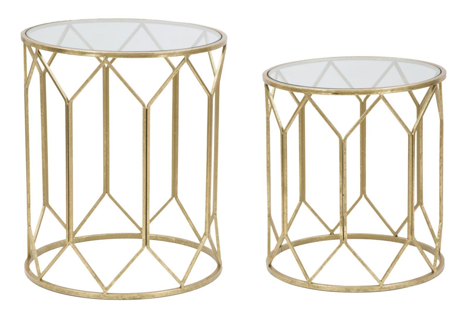 Set 2 mese de cafea din metal si sticla Glam Auriu, Ø 50xH60 / Ø45xH50 cm