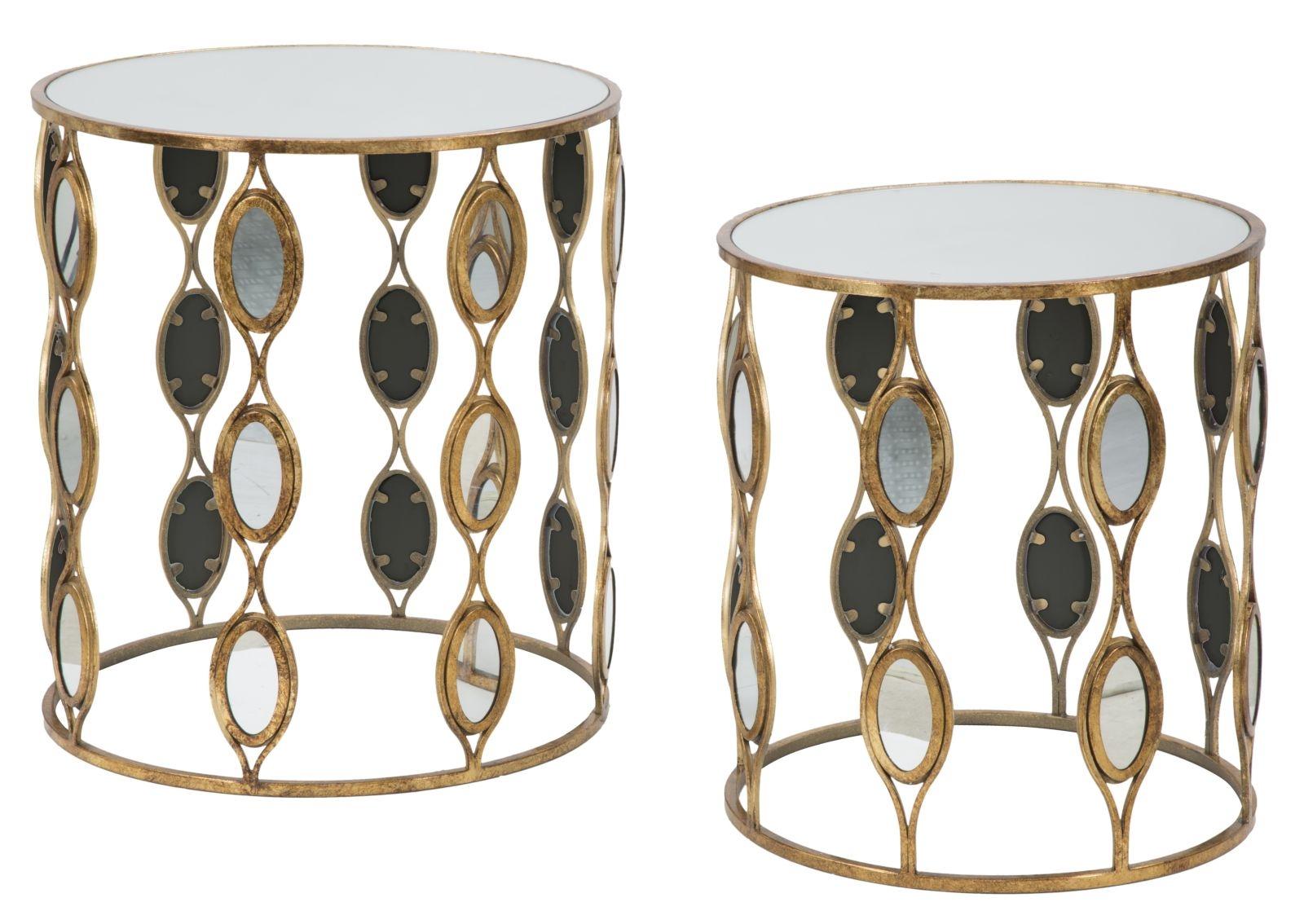 Set 2 mese de cafea din metal si sticla Glam Mirror Gold O54xH605 / O47xH53 cm