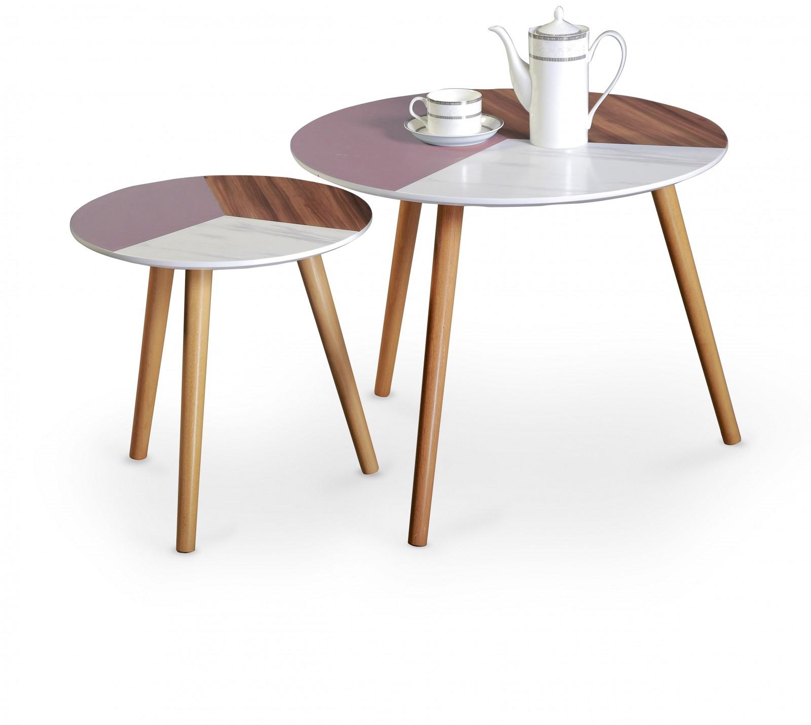 Set 2 mese de cafea Multi, Ø40-60xh40-48 cm