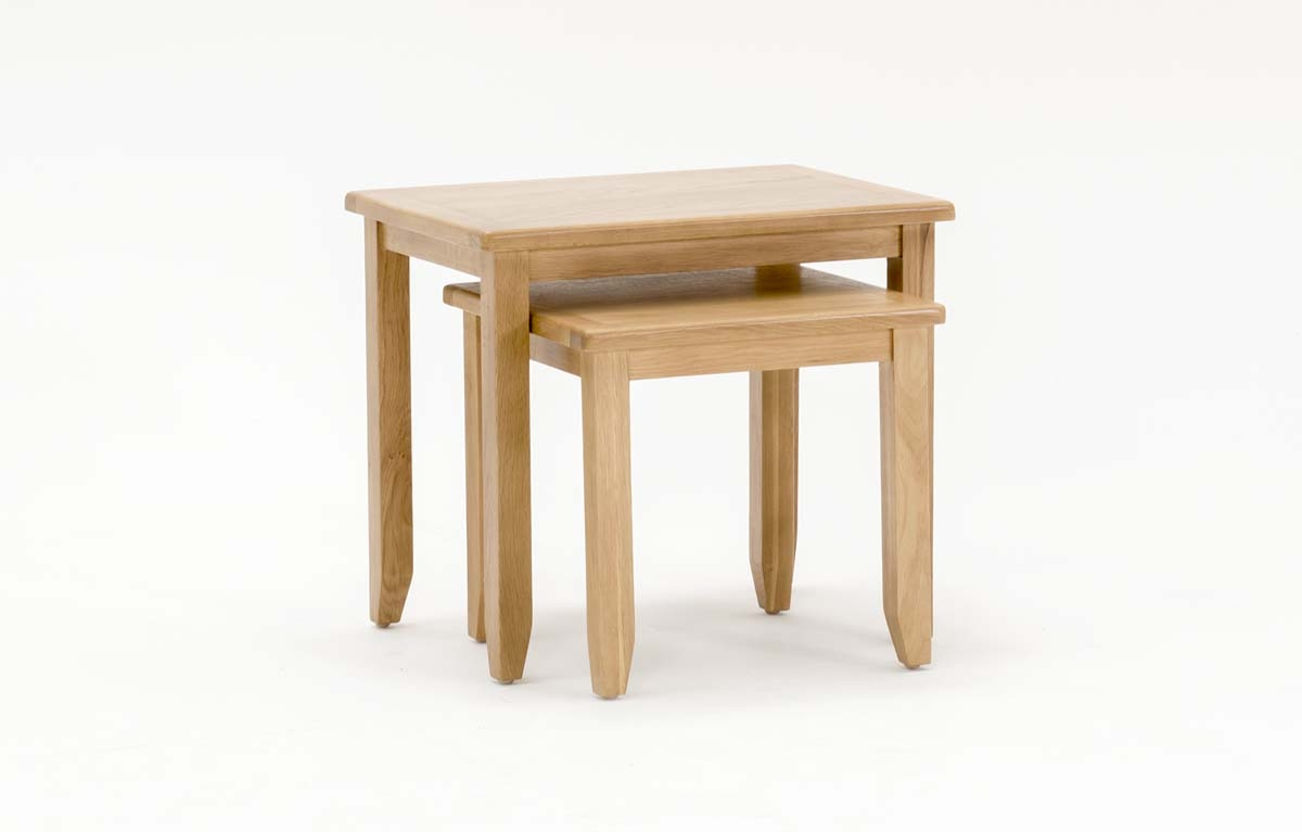 Set 2 mese din lemn de stejar si furnir Ramore Oak L57xl425xH50 cm