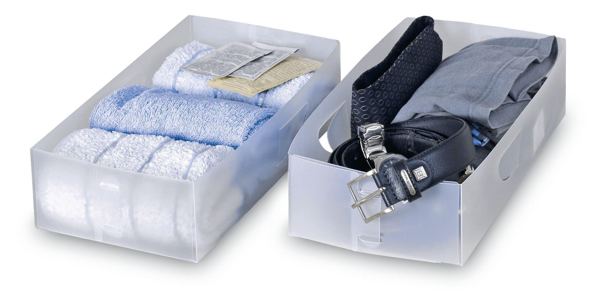 Set 2 organizatoare pentru sertar, Divisar Transparent, L30xl15,5xH8 cm imagine