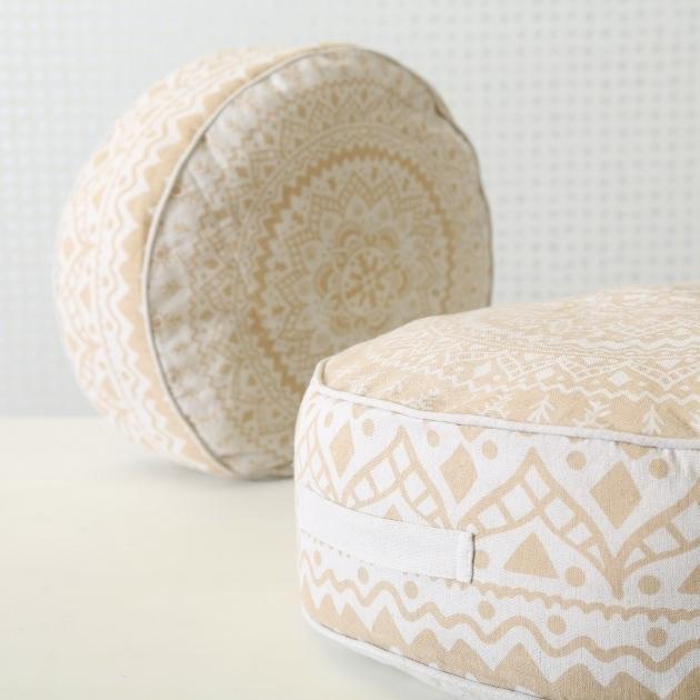 Perna decorativa Paloma Round Bej, Modele Asortate, Ø45xH18 cm imagine