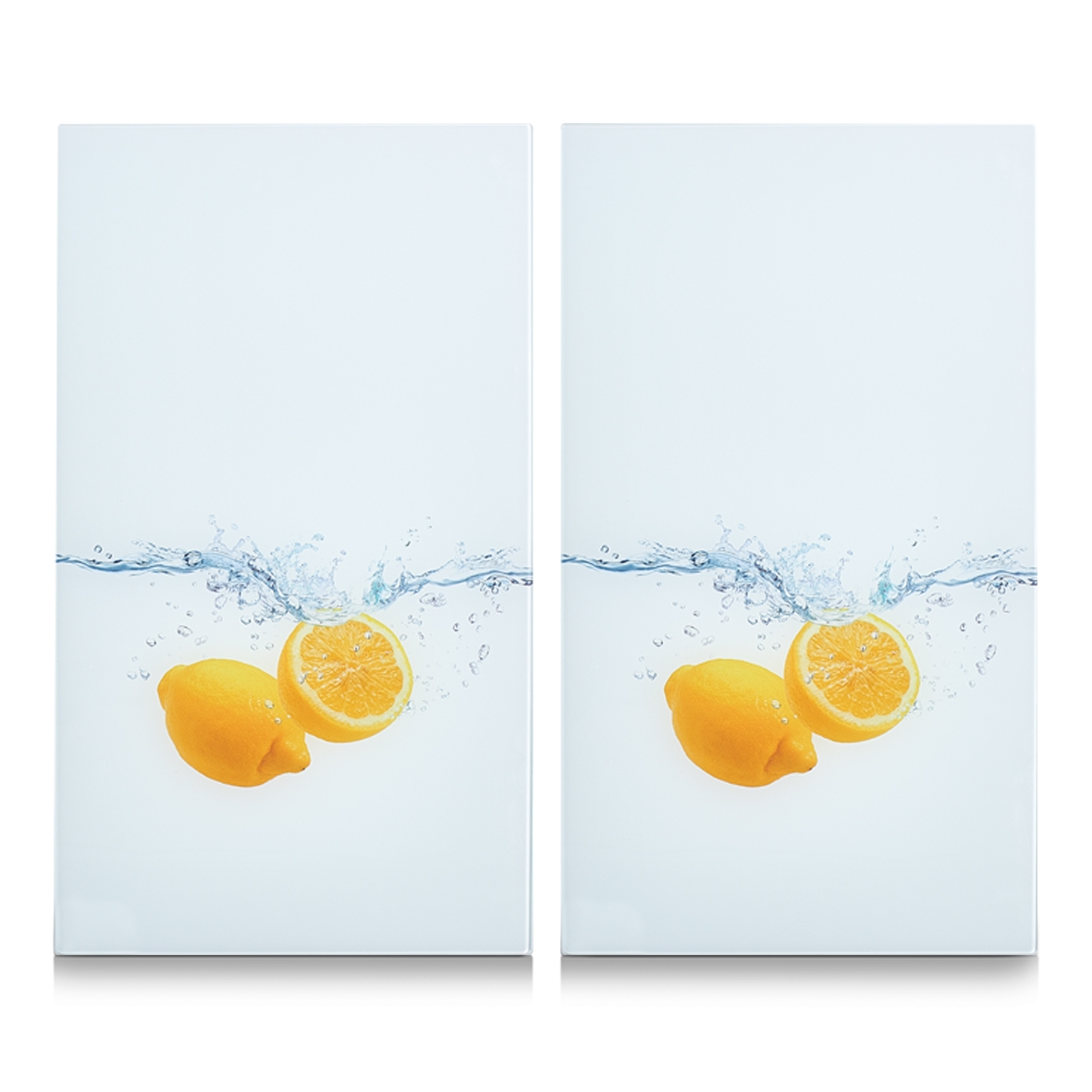 Set 2 placi din sticla, protectie plita, Lemon Splash, l30xA52 cm