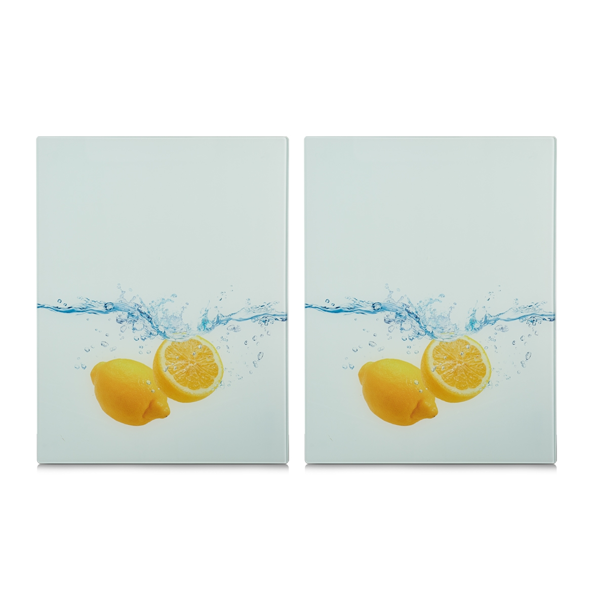 Set 2 placi din sticla, protectie plita, Lemon Splash XL, l40xA52 cm poza