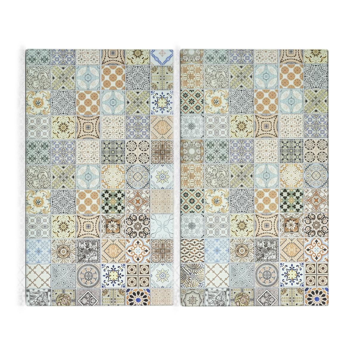 Set 2 placi din sticla, protectie plita, Mosaic Multicolor, L30xl52 cm poza