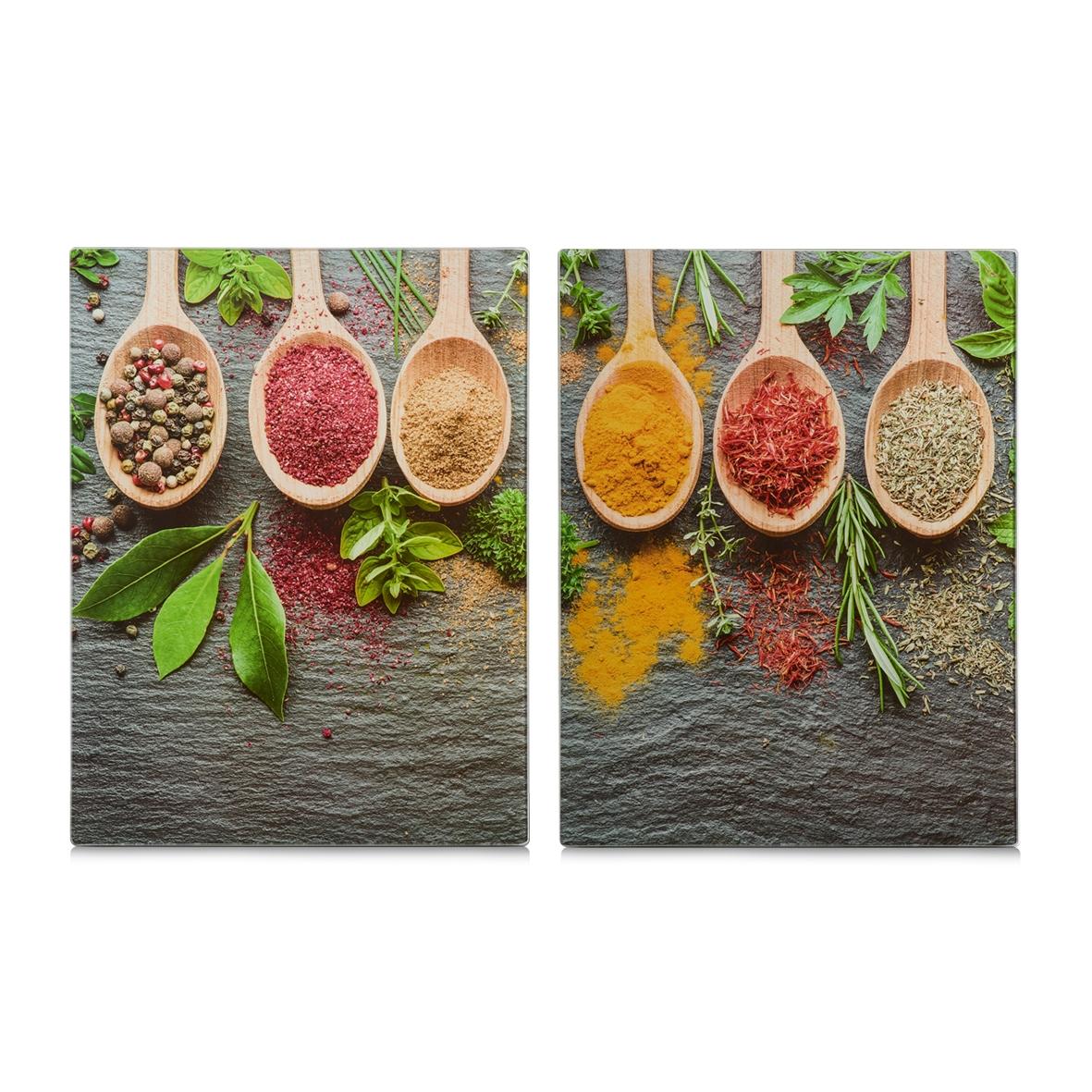 Set 2 placi din sticla, protectie plita, Spices XL, l40xA52 cm
