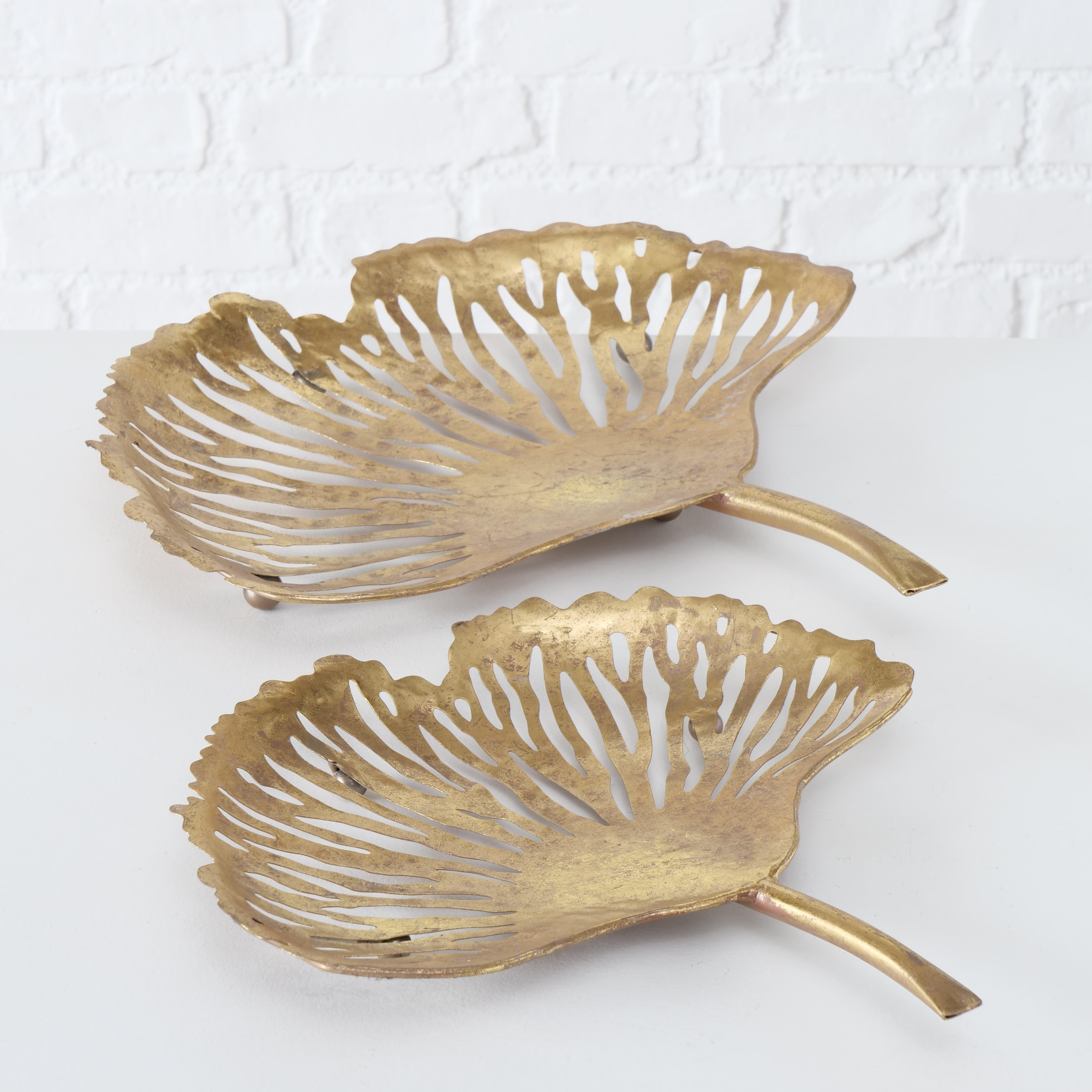 Set 2 platouri decorative metalice Ginkgo Auriu, L42xl42xH9 cm / L33xl33xH7 cm