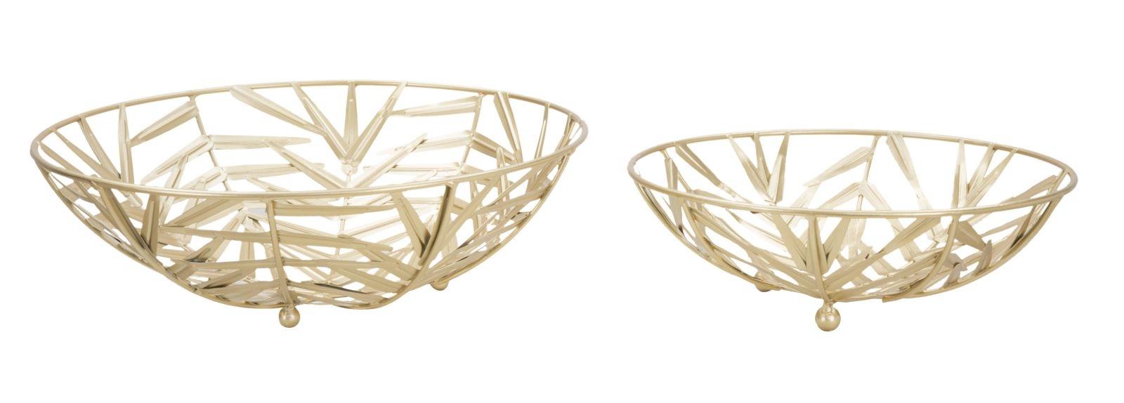 Set 2 platouri decorative metalice Glam Couple Auriu, Ø35,5xH10,8 / Ø10,8xH8 cm din categoria Decoratiuni Interioare