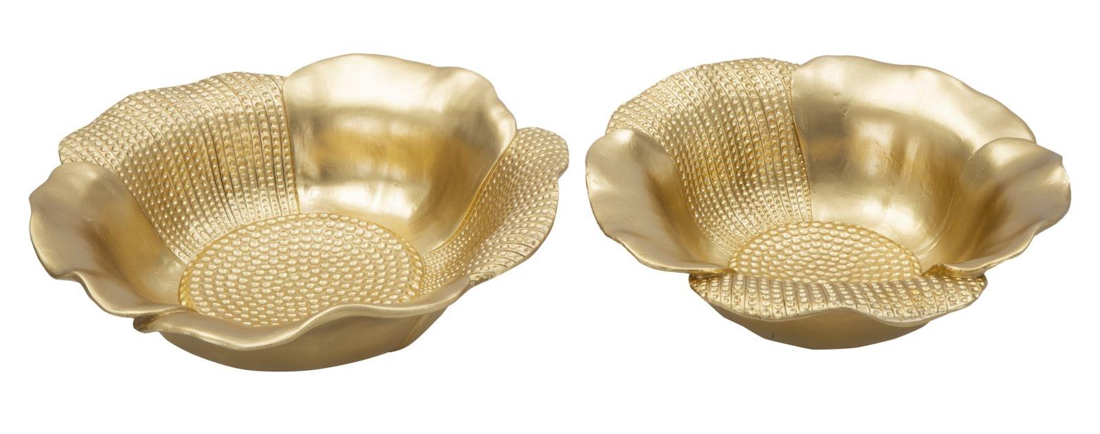 Set 2 platouri decorative metalice Glam Peralo Auriu Ø23xH8 / Ø255xH75 cm