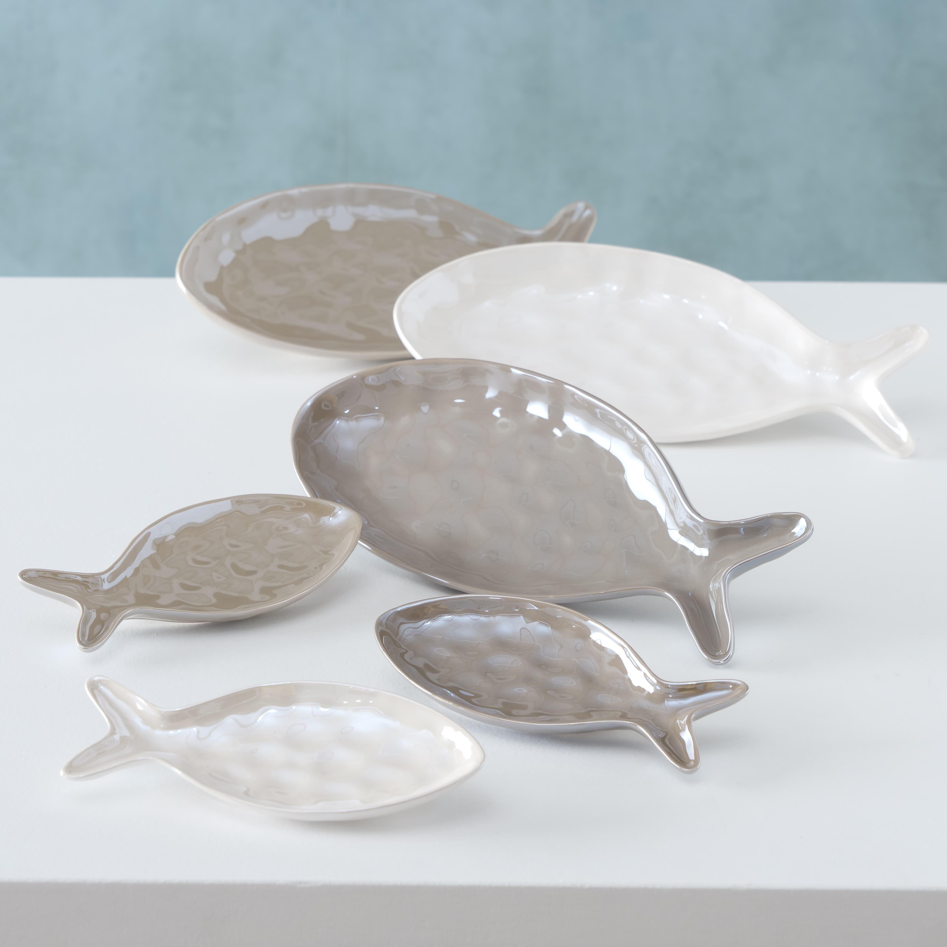 Set 2 platouri servire din ceramica Zyus Gri / Grej / Alb, Modele Asortate, L30xl13xH3 cm / L18xl8xH2 cm