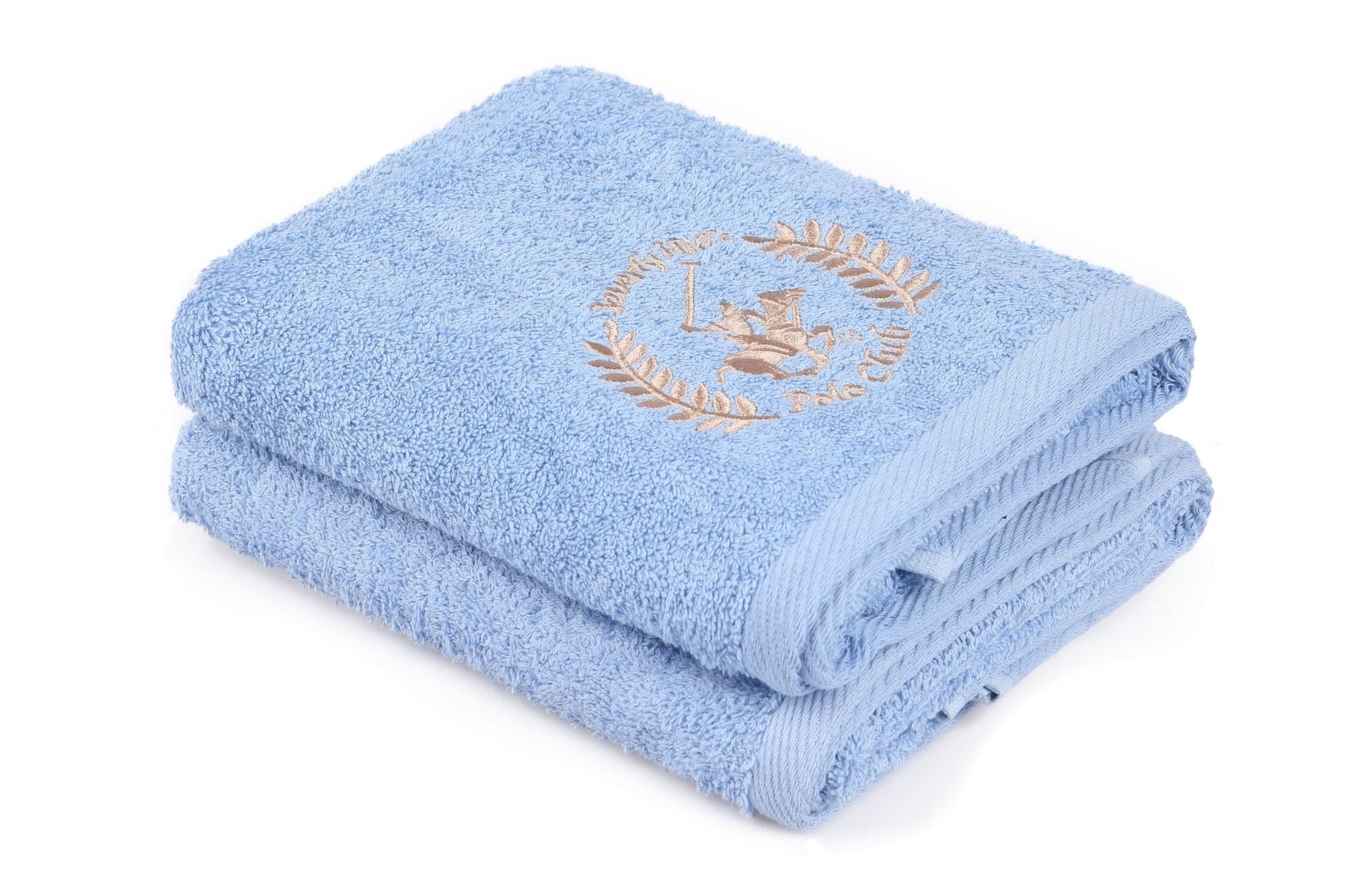Set 2 prosoape baie din bumbac, Beverly Hills Polo Club 402 Albastru / Bej, 50 x 90 cm poza