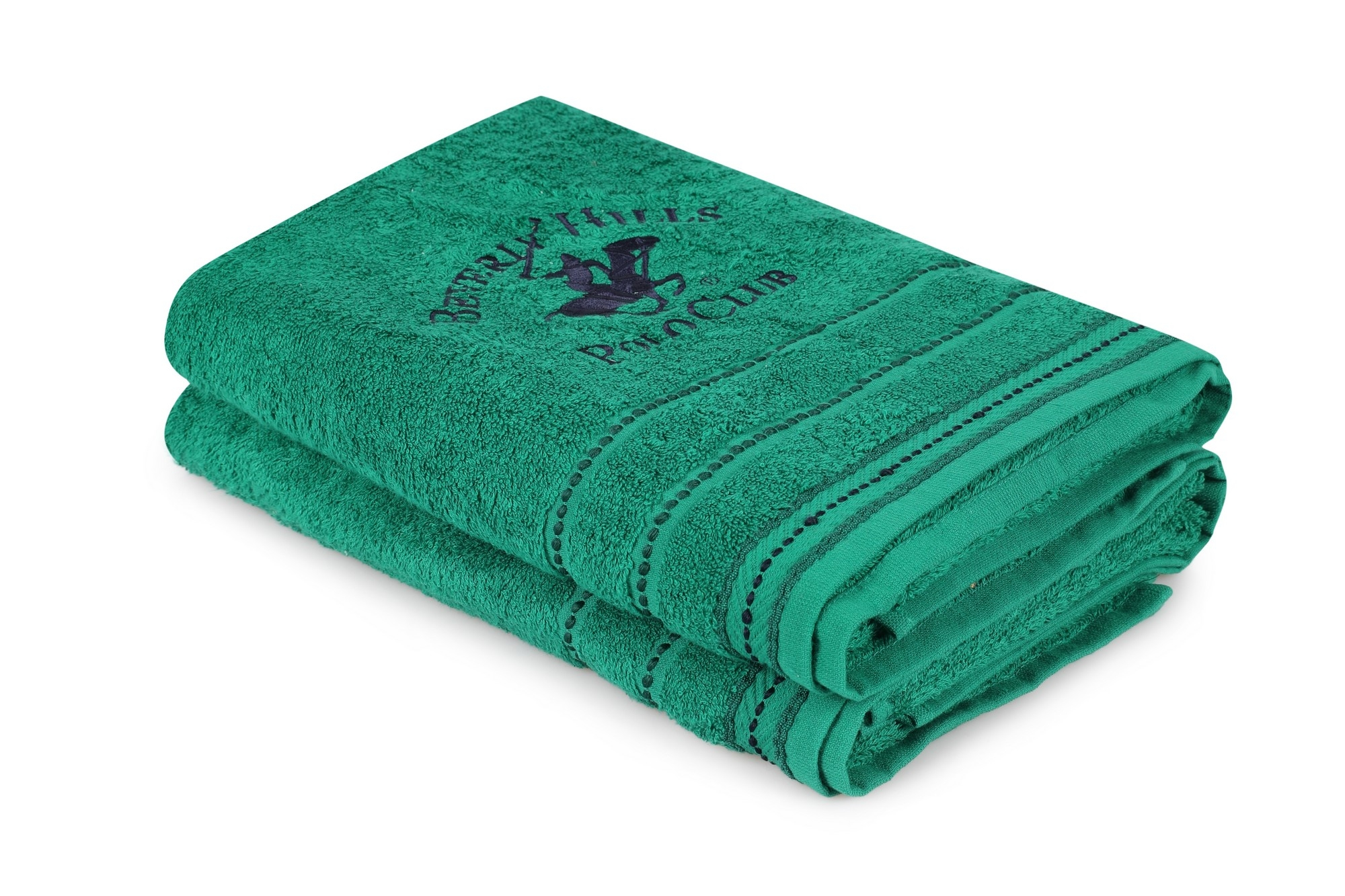 Set 2 prosoape baie din bumbac, Beverly Hills Polo Club 403 Verde, 70 x 140 cm