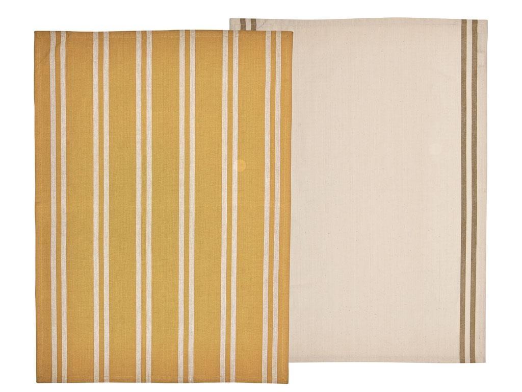 Set 2 prosoape de bucatarie din bumbac Soft Tea 10843 Mustariu / Bej, 50 x 70 cm, Södahl poza