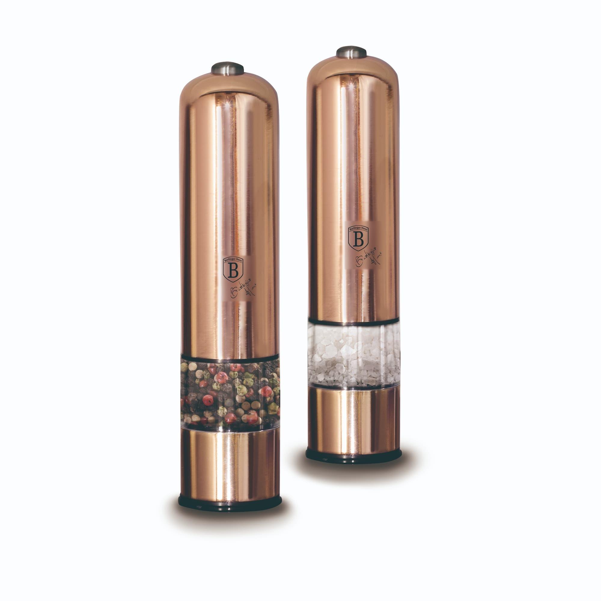Set 2 rasnite electrice cu LED, pentru sare / piper, Metallic Line Rose Gold