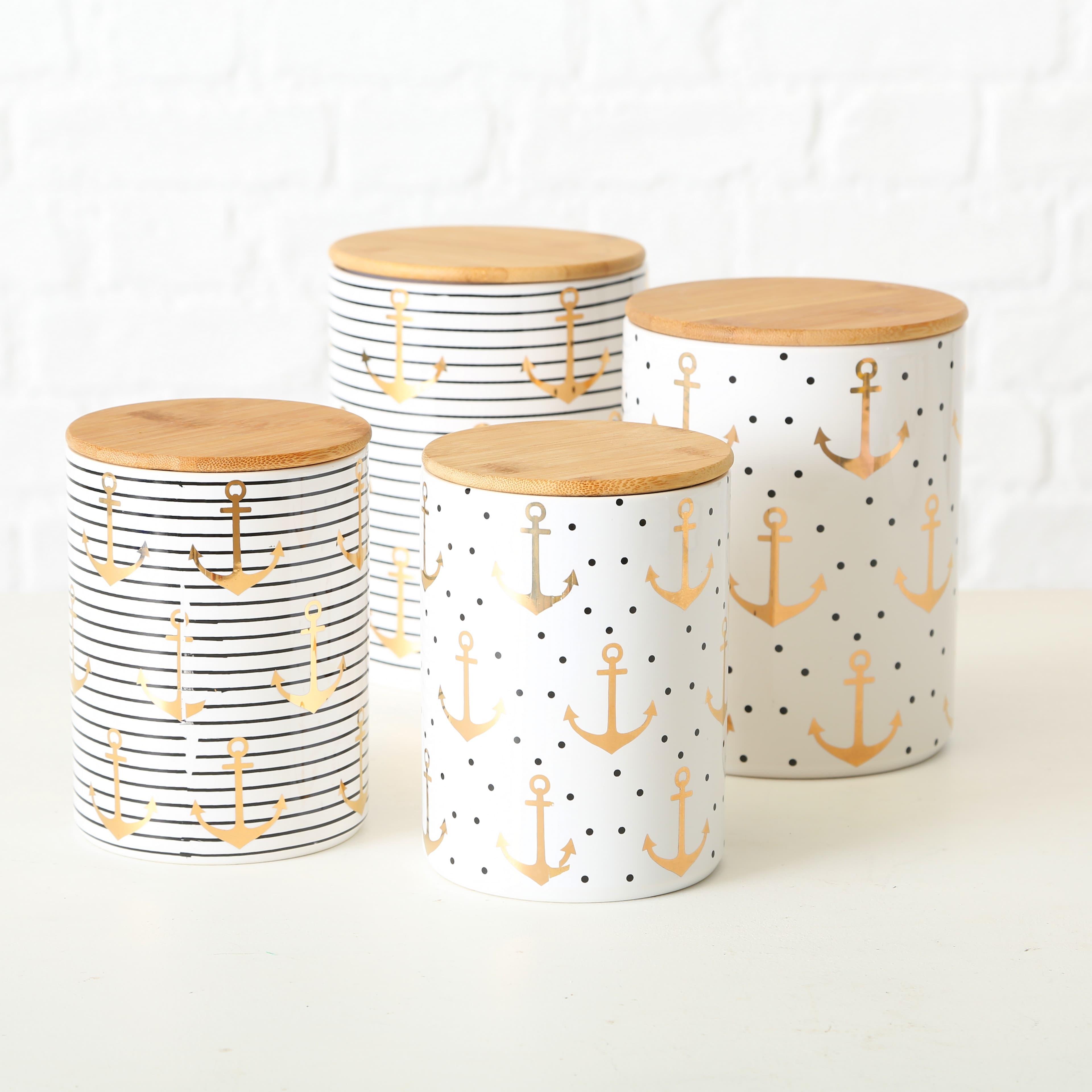 Set 2 recipiente din ceramica pentru depozitare Anchor Multicolor, Modele Asortate, Ø14xH19 cm / Ø12xH16 cm imagine
