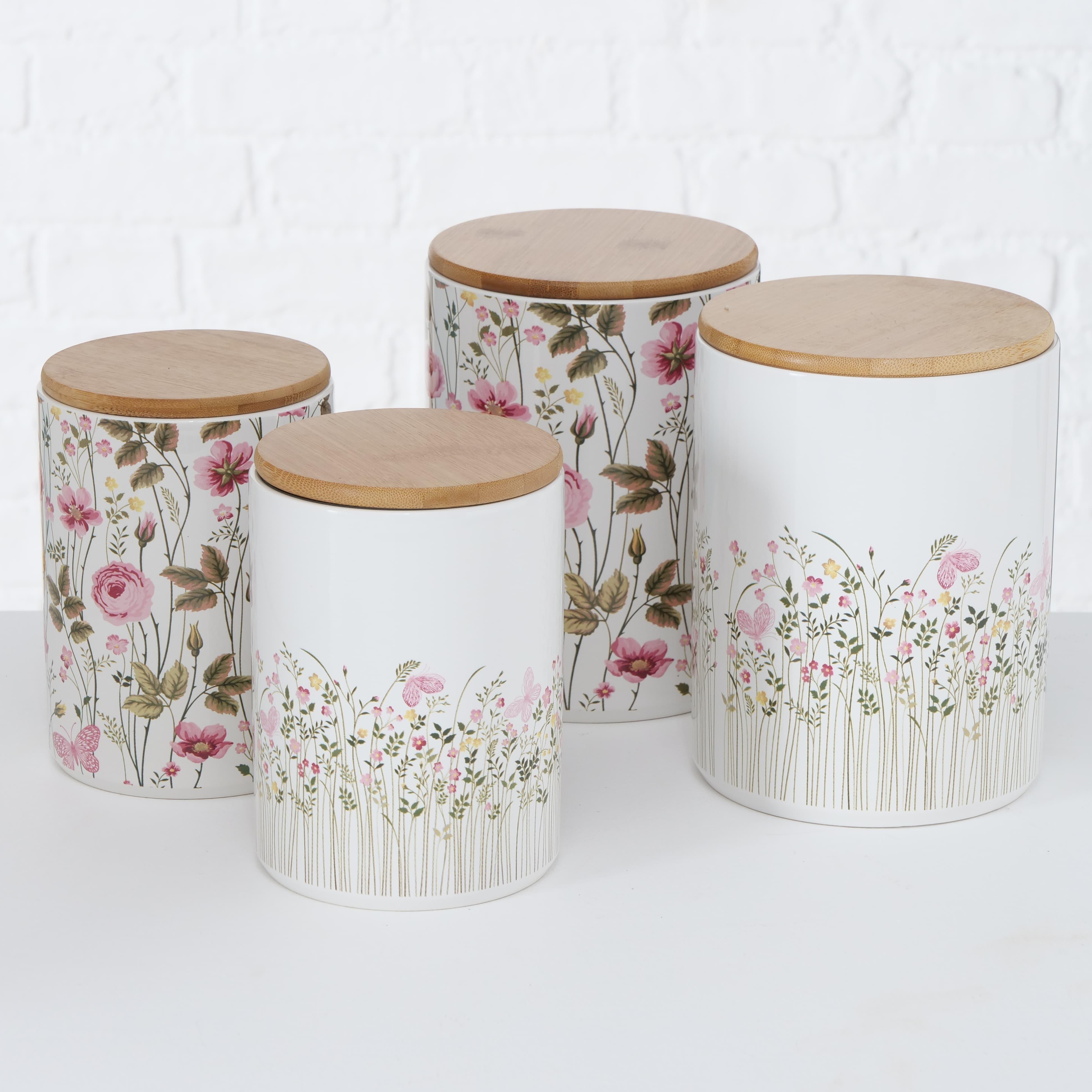 Set 2 recipiente din ceramica pentru depozitare Rosalie Multicolor, Modele Asortate, Ø14xH19 cm / Ø12xH16 cm