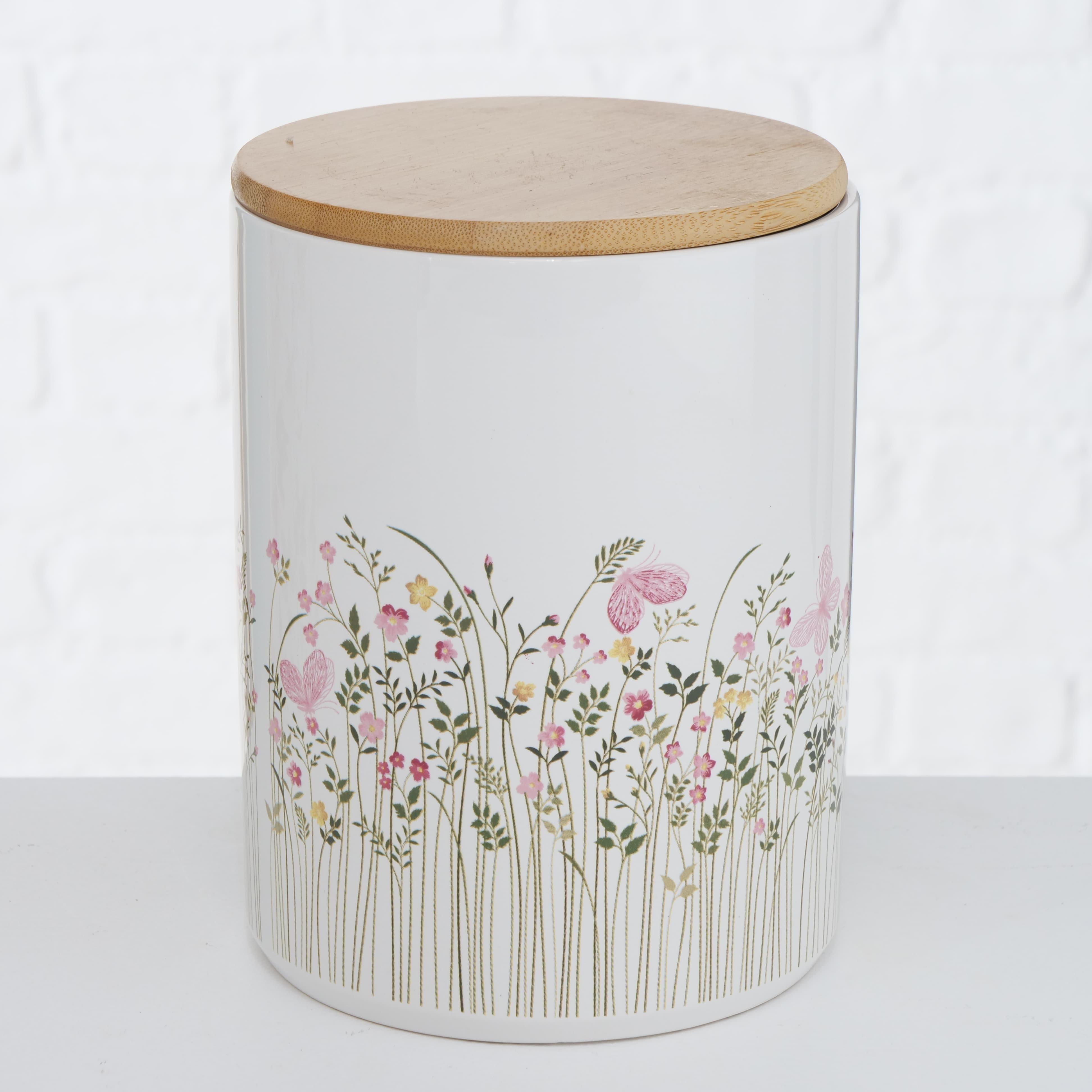 Set 2 recipiente din ceramica pentru depozitare Rosalie Multicolor, Modele Asortate, Ø14xH19 cm / Ø12xH16 cm somproduct.ro imagine 2021