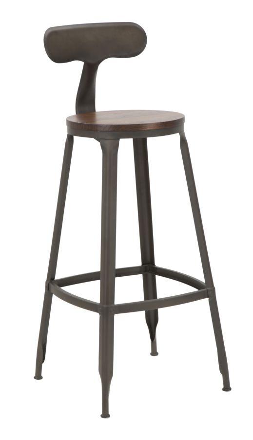 Set 2 scaune de bar din lemn de ulm si metal Harlem-A Natural / Gri inchis, l40xA46xH103 cm