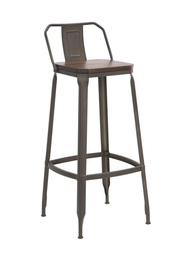 Set 2 scaune de bar din lemn de ulm si metal Harlem-B Natural / Gri inchis, l41xA41xH95 cm