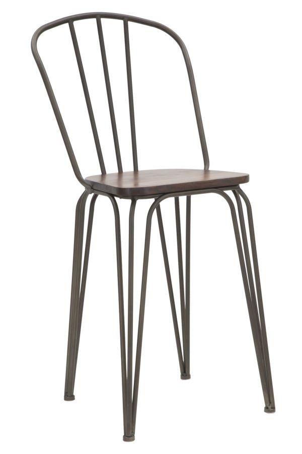 Set 2 scaune de bar din lemn de ulm si metal Harlem Natural / Gri, l54xA45xH102 cm
