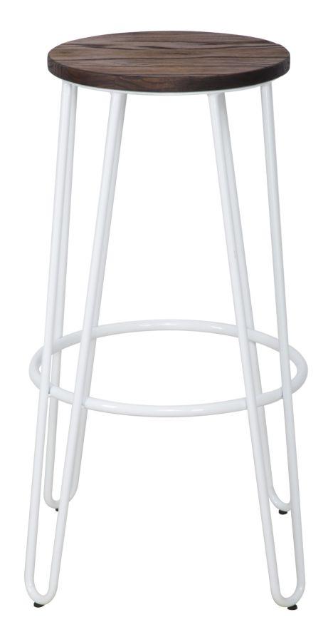 Set 2 scaune de bar din metal, cu sezut din lemn de ulm Detroit Alb / Maro, Ø39xH76 cm