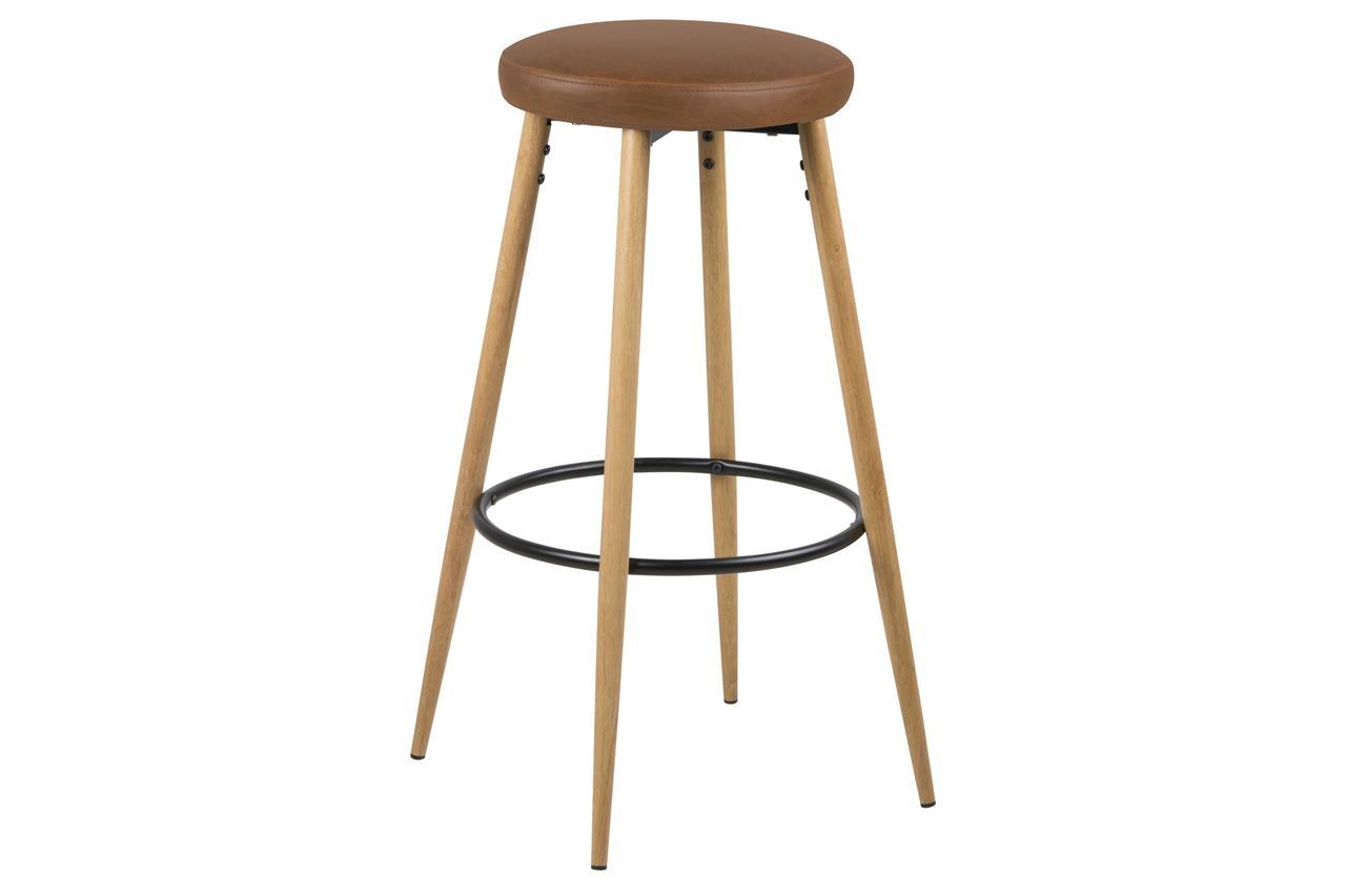 Set 2 scaune de bar tapitate cu piele ecologica si picioare din lemn Hector Maro / Stejar, Ø41xH77 cm imagine