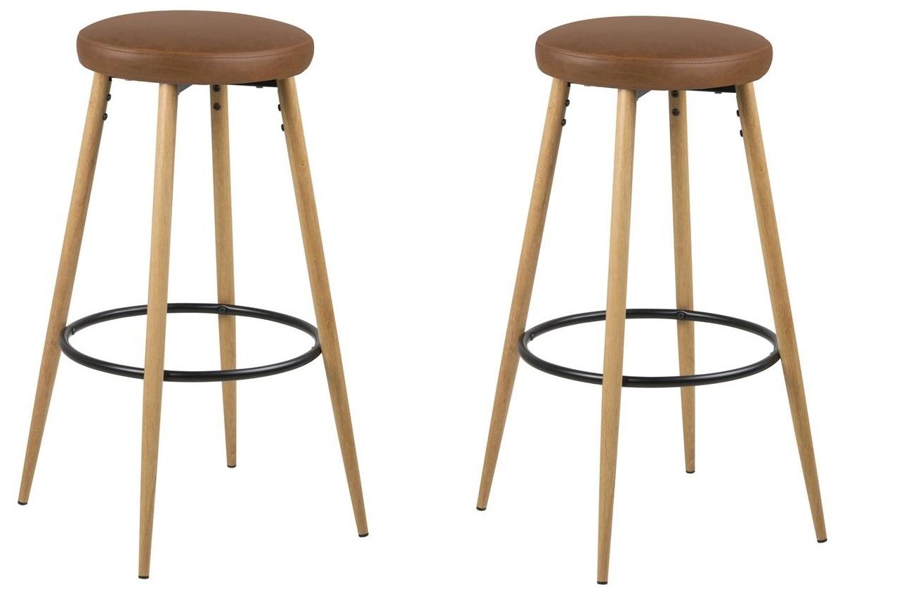 Set 2 scaune de bar tapitate cu piele ecologica si picioare din lemn Hector Maro / Stejar, Ø41xH77 cm poza