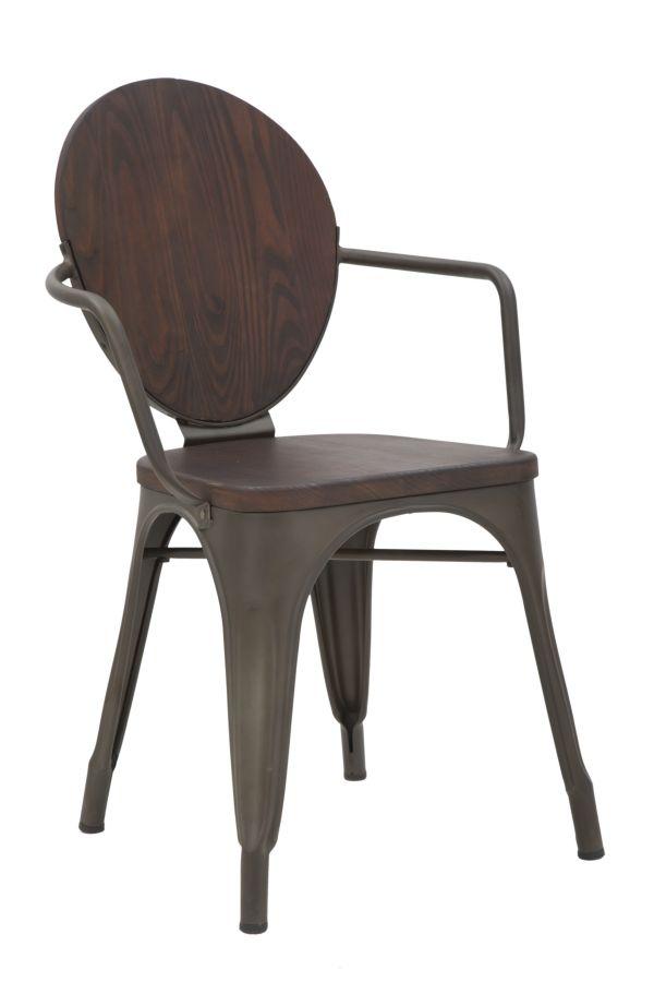 Set 2 scaune din lemn de pin si metal Harlem Walnut, l54xA51xH83 cm
