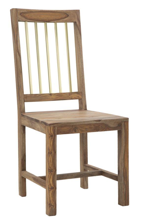 Set 2 scaune din lemn de Sheesham si metal Elegant Natural, l45xA50xH100 cm