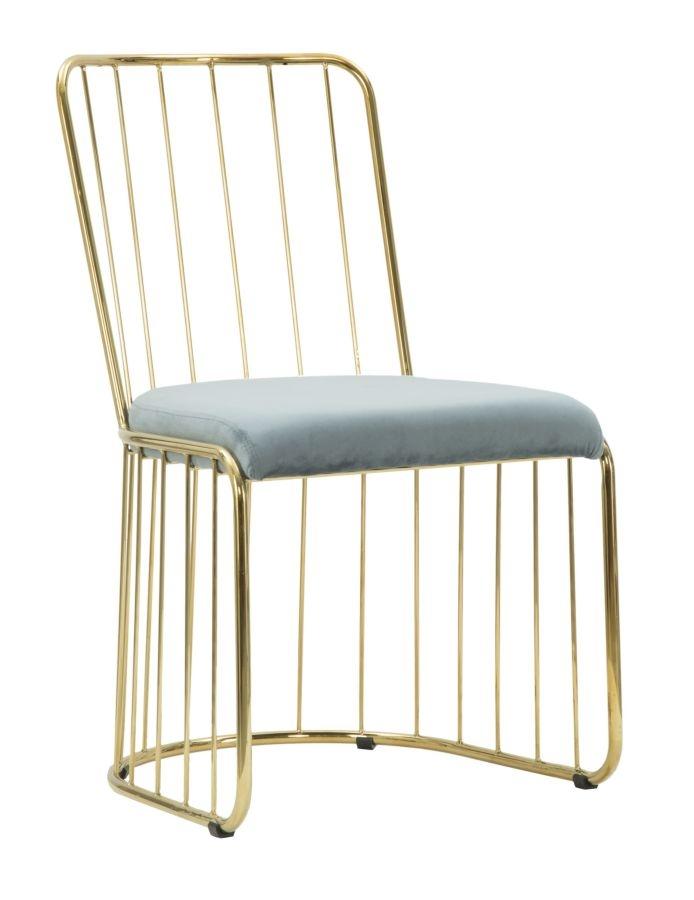 Set 2 scaune din metal, tapitate cu stofa Celeste Bleu / Auriu, l47xA56xH82 cm