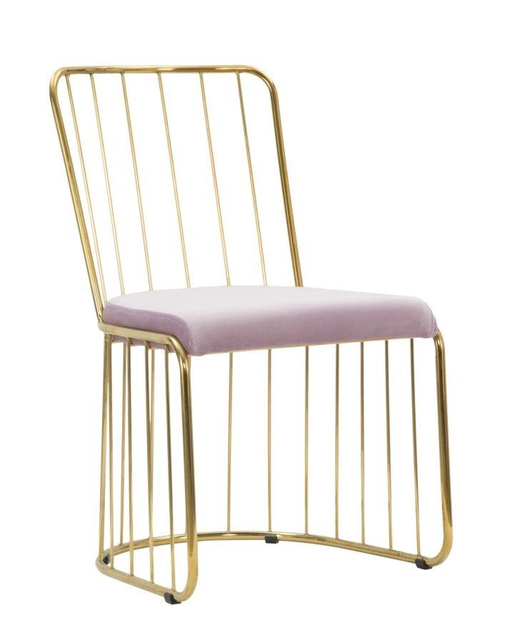 Set 2 scaune din metal, tapitate cu stofa Celeste Rose / Auriu, l47xA56xH82 cm