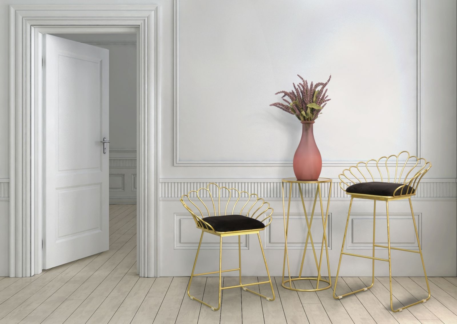 Set 2 scaune din metal, tapitate cu stofa Flower Negru / Auriu, l57xA52xH94 / l56xA48xH72,5 cm