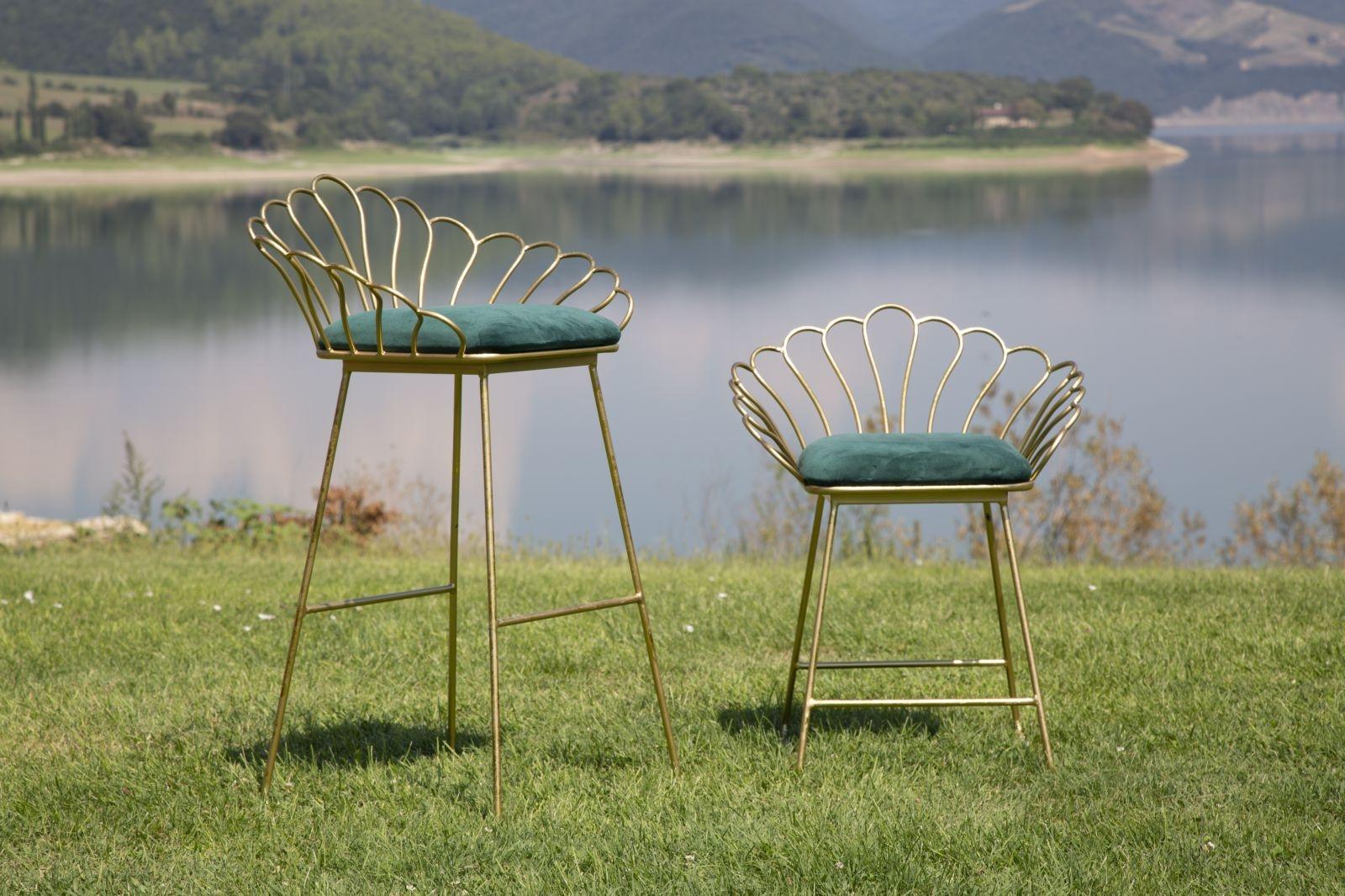 Set 2 scaune din metal, tapitate cu stofa Flower Verde / Auriu, l57xA52xH94 / l56xA48xH72,5 cm