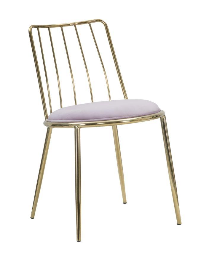 Set 2 scaune din metal, tapitate cu stofa Lodovic Rose / Auriu, l45xA50xH80 cm
