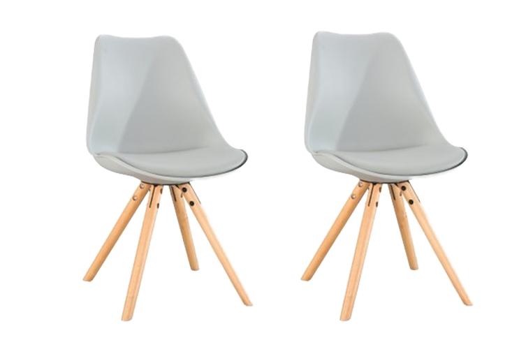 Set 2 scaune din plastic cu picioare din lemn si sezut tapitat cu piele ecologica Ice Grey l46xA43xH815 cm