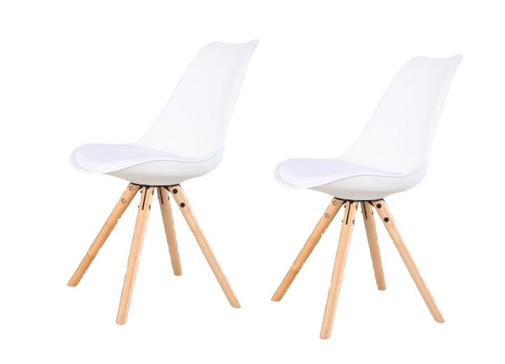 Set 2 scaune din plastic cu picioare din lemn si sezut tapitat cu piele ecologica Ice White l46xA43xH815 cm