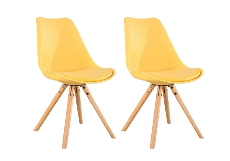 Set 2 scaune din plastic cu picioare din lemn si sezut tapitat cu piele ecologica Ice Yellow l46xA43xH815 cm