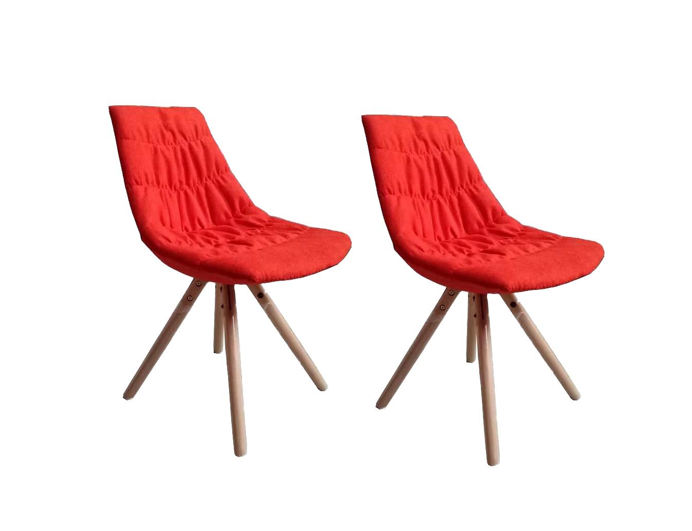 Set 2 scaune tapitate cu stofa cu picioare de lemn Joy Red l47xA54xH80 cm