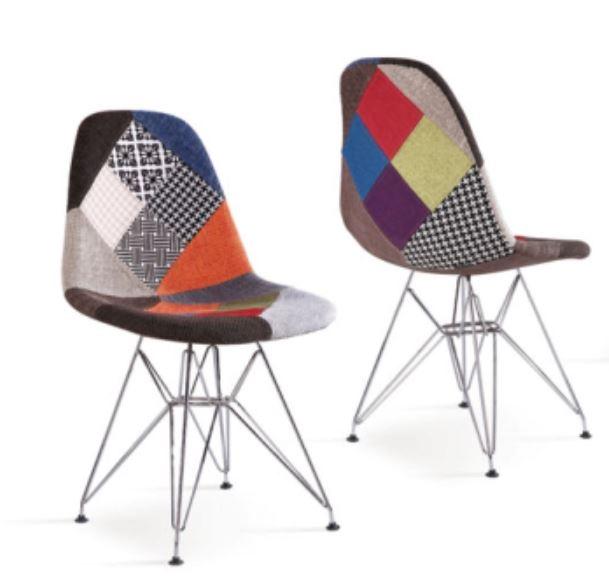 Set 2 scaune tapitate cu stofa cu picioare de metal Glass Multicolour l46xA37xH81 cm