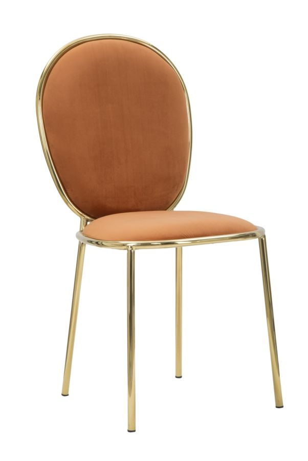 Set 2 scaune tapitate cu stofa, cu picioare metalice Emily Orange / Auriu, l44xA50xH90 cm