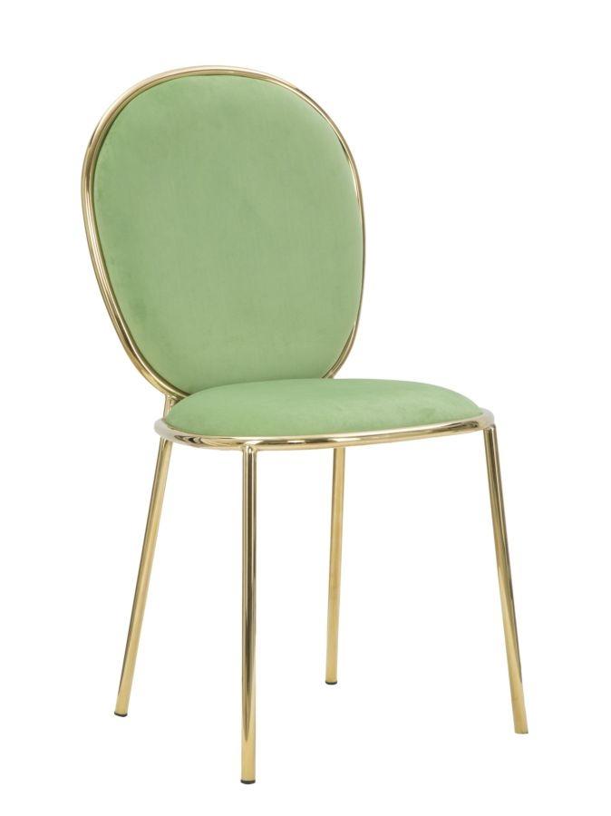 Set 2 scaune tapitate cu stofa, cu picioare metalice Emily Verde deschis / Auriu, l44xA50xH90 cm