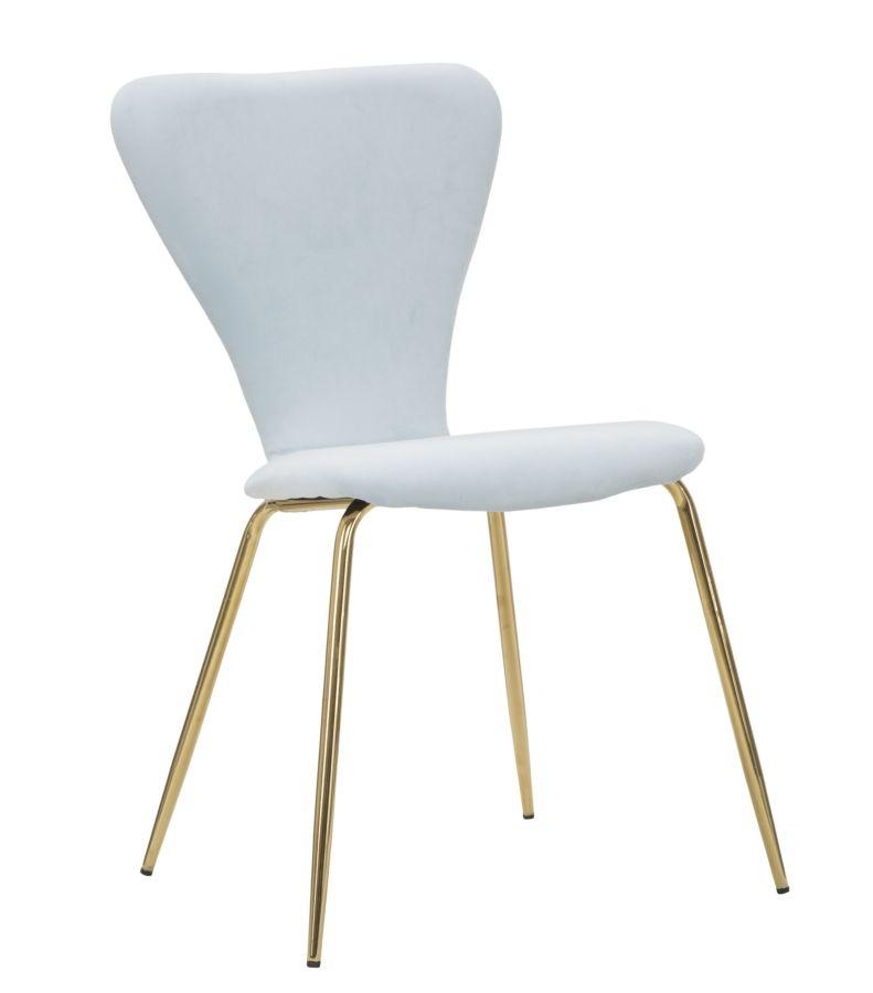 Set 2 scaune tapitate cu stofa, cu picioare metalice Simple Albastru deschis / Auriu, l45xA50xH80 cm