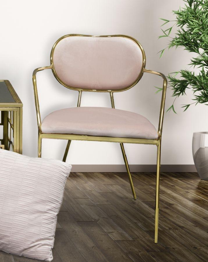 Set 2 scaune tapitate cu stofa, cu picioare metalice Thin Rose / Auriu, l54xA57xH76 cm