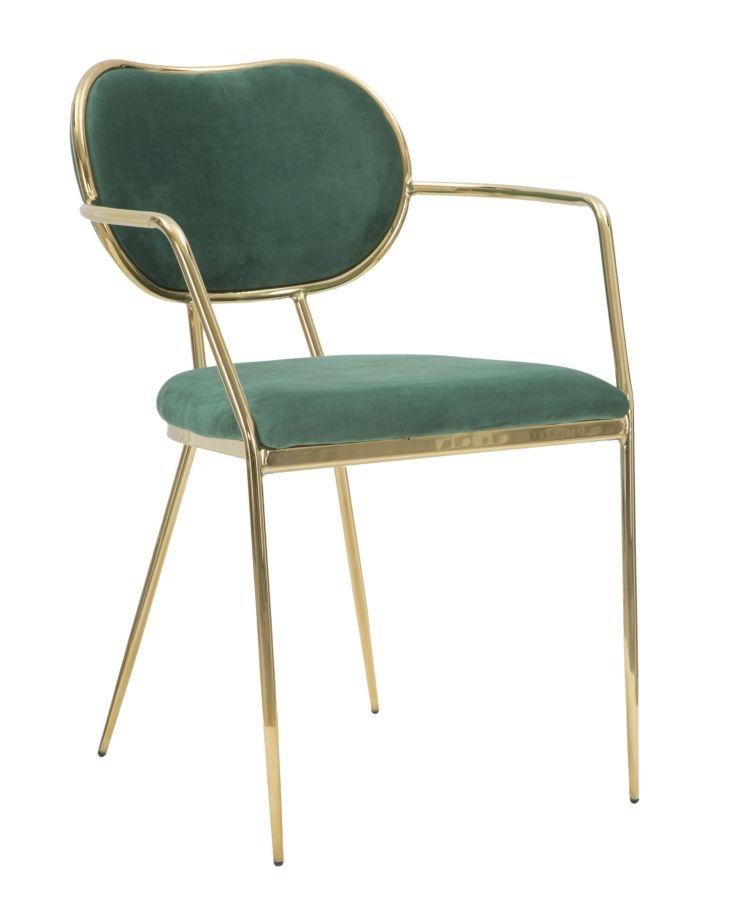 Set 2 scaune tapitate cu stofa, cu picioare metalice Thin Verde / Auriu, l54xA57xH76 cm